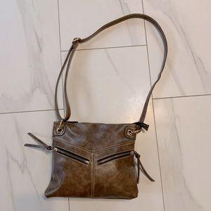 K STUDIO brown cross body faux leather purse